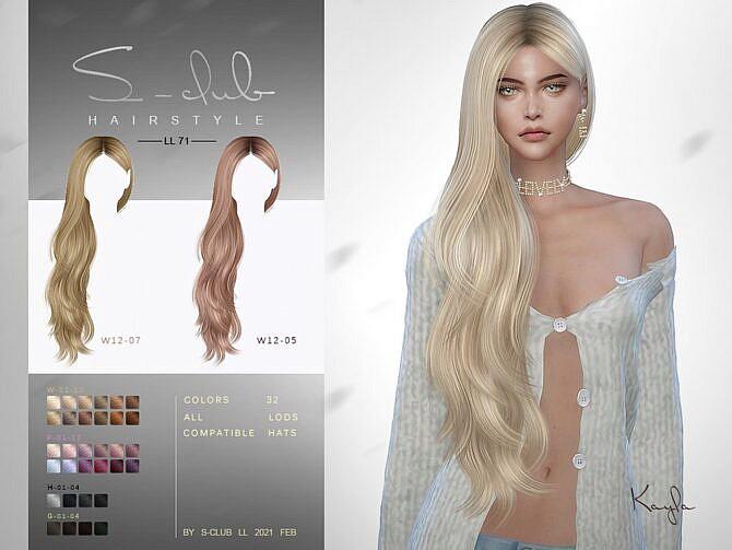 Sims 4 Kayla long hair N71 by S Club LL at TSR
