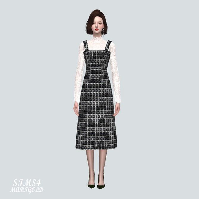 Sims 4 Lace Blouse Long Dress at Marigold