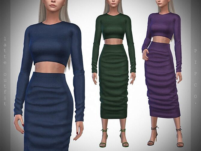 Sims 4 Latte Outfit by Pipco at TSR