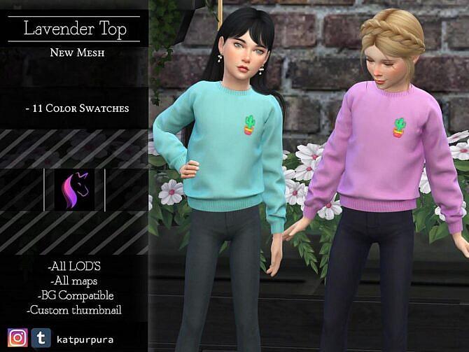 Sims 4 Lavander Top for Girls by KaTPurpura at TSR