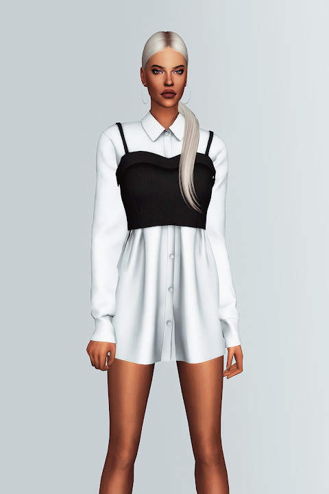 Sims 4 Leather Bustier & Shirt Dress at Gorilla