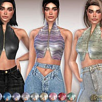 Leather Turtleneck Sims 4 Tank Top