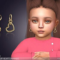Little Heart Drop Sims 4 Earrings For Toddlers