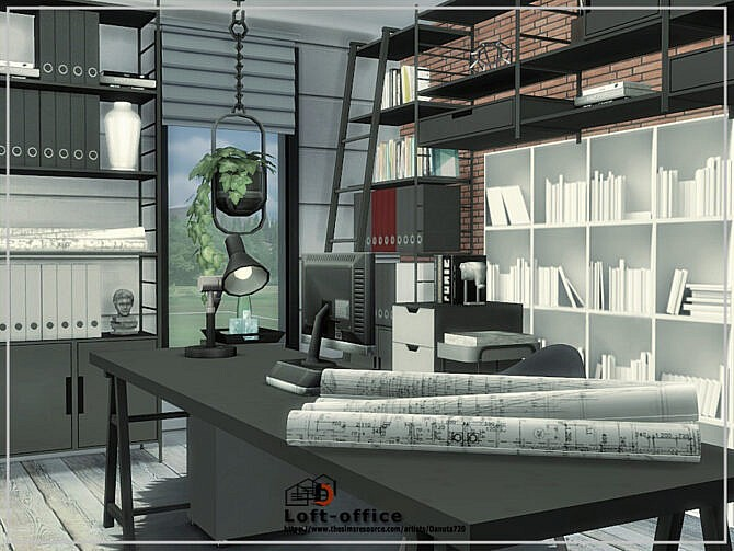 Sims 4 Loft Office Room by Danuta720 at TSR