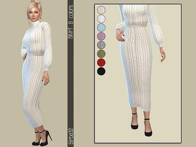 Sims 4 Wool long skirt by Birba32 at TSR
