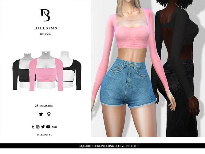 Long Sleeve Sims 4 Crop Top Square Neckline