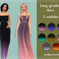 Long Gradient Sims 4 Dress