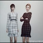 Long Sleeve Plaid Sims 4 Dress