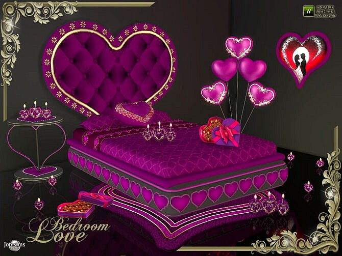 Sims 4 Love decorations bedroom by jomsims at TSR