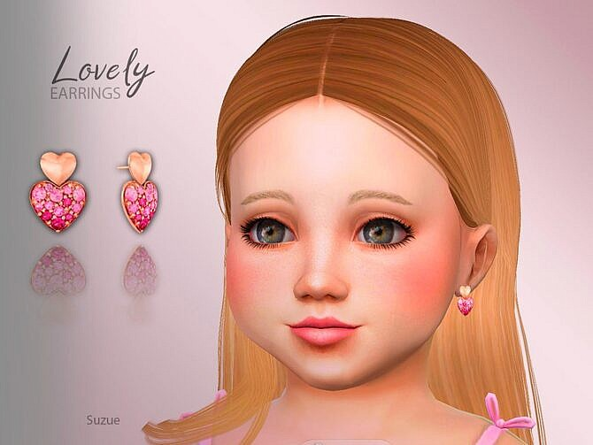 Sims 4 Lovely Hearts Toddler Earrings by Suzue at TSR