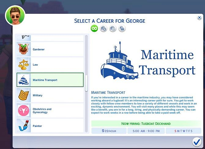 Maritime Transport Sims 4 Career