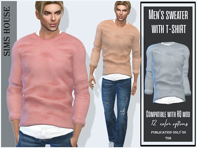 Sims 4 Mens sweater with t shirt by Sims House at TSR