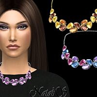 Mixed Color Gems Sims 4 Necklace V2
