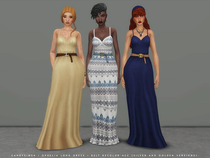 Sims 4 OPHELIA casual long dress at Candy Sims 4