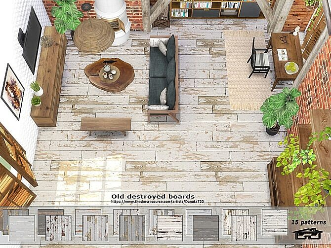 Sims 4 Old destroyed floor boards by Danuta720 at TSR
