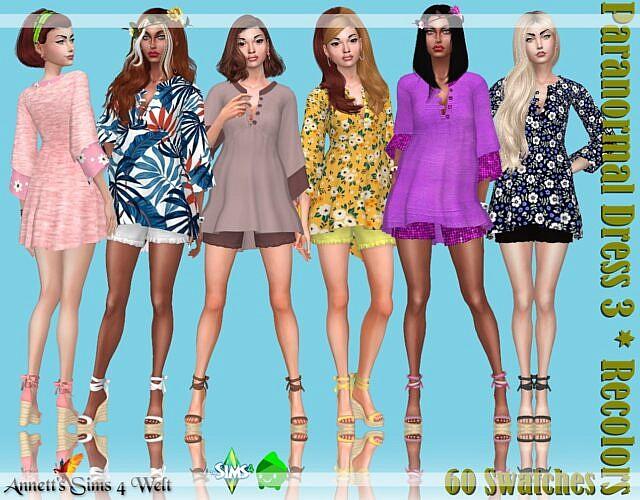 Paranormal Sims 4 Dress 3 Recolors