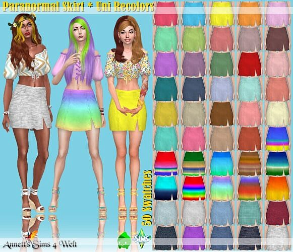 Paranormal Sims 4 Skirt Uni Recolors