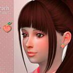 Peach Child Sims 4 Earrings