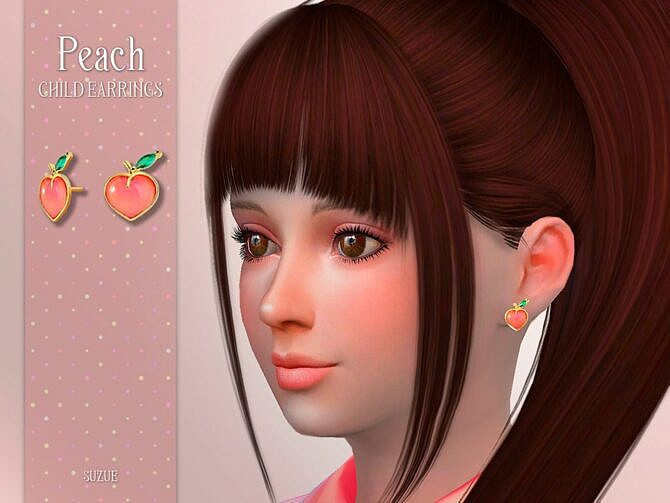 Sims 4 Peach Child Earrings by Suzue at TSR