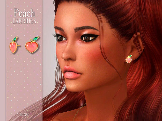 Sims 4 Peach Earrings by Suzue at TSR