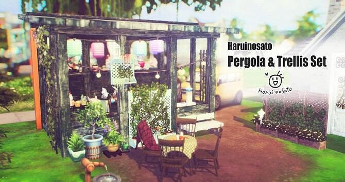 Sims 4 Pergola & Trellis Set at Haruinosato's CC