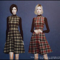 Plaid Fit And Flare Sims 4 Dress