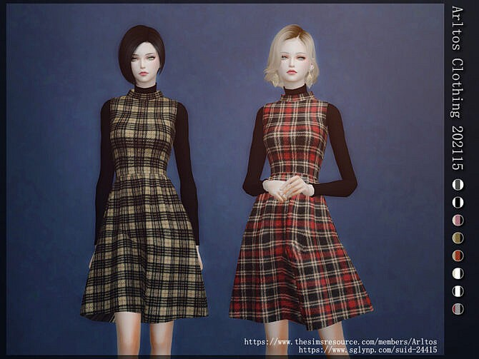 Sims 4 Plaid fit and flare dress by Arltos at TSR