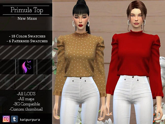 Sims 4 Primula Top by KaTPurpura at TSR