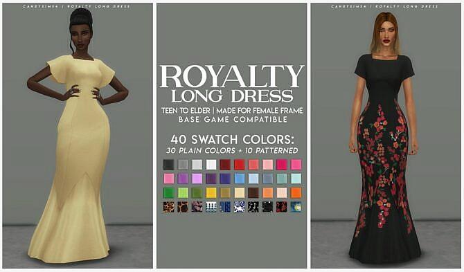 Sims 4 ROYALTY LONG FORMAL DRESS at Candy Sims 4