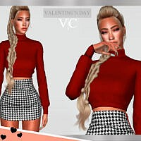 Red Turtleneck Crop Top Sims 4 Valentines Day