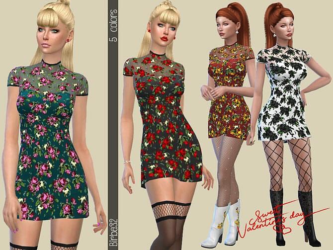 Sims 4 Romantic little dress by Birba32 at TSR