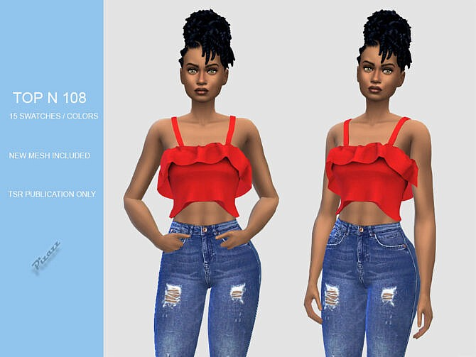 Sims 4 Ruffle Crop Top N108 by pizazz at TSR