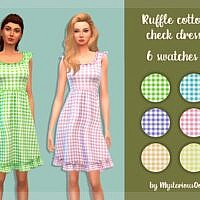 Ruffle Cotton Check Sims 4 Dress