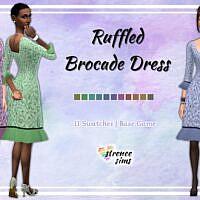 Ruffled Brocade Sims 4 Dress