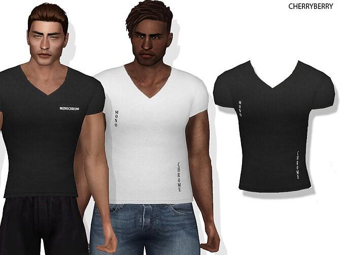 Sims 4 Ryan V neck Shirt by CherryBerrySim at TSR