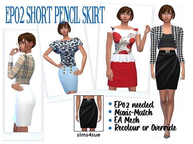 Short Pencil Sims 4 Skirt Ep02