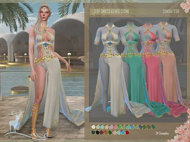 Sims 4 Dress Elves Cisne