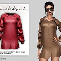Shirt Dress Ruched Sleeve Oversized By Mermaladesimtr