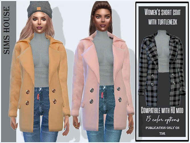 Short Sims 4 Coat With Turtleneck