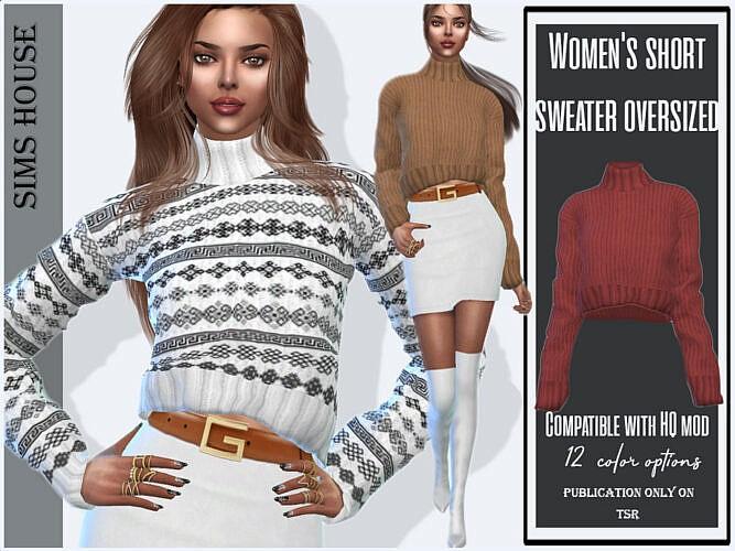 Short Sims 4 Sweater Oversized