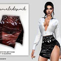 Side Split Vinyl Mini Skirt Sims 4 Mc133