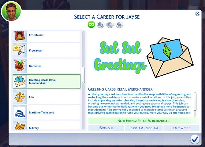 Sims 4 Career Greeting Card Retail Merchandiser