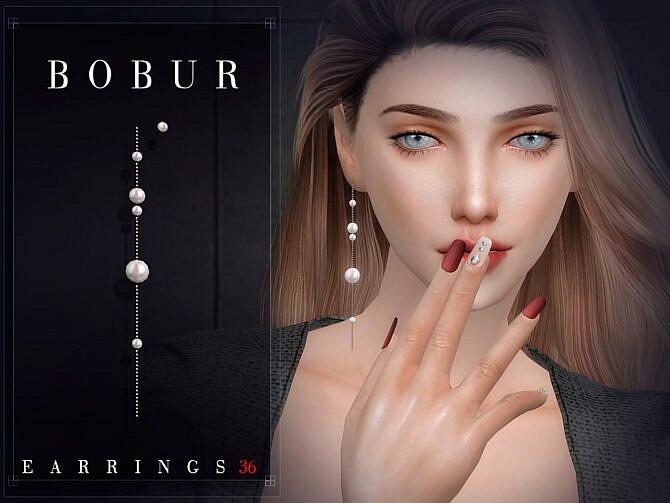 Sims 4 Pearl earrings 36 by Bobur3 at TSR