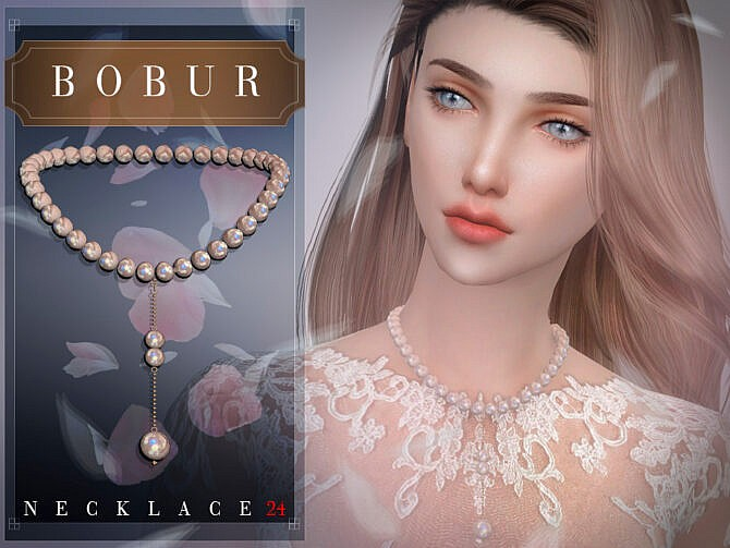 Sims 4 Pearl Necklace 24 by Bobur3 at TSR