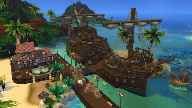 Sims 4 Pirateship Port With Tavern 50x50 1