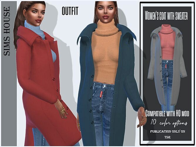 Sims 4 Coat With Sweater And Jeans
