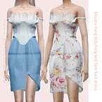 Stitching Net Yarn Suit Dress Sims 4