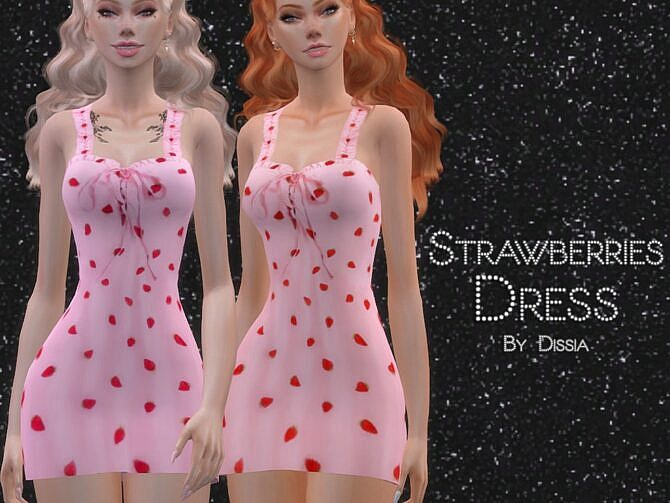 Sims 4 Strawberries Dress by Dissia at TSR