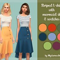 Striped T Shirt Sims 4 Mermaid Skirt