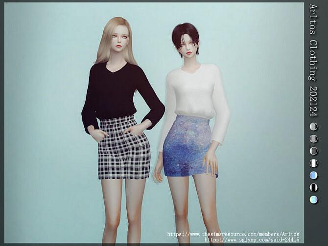 Sims 4 Sweatshirt & skirt outfit 202124 by Arltos at TSR